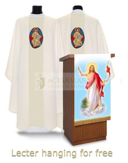 Cream Gothic Chasuble Jesus is Risen model 446