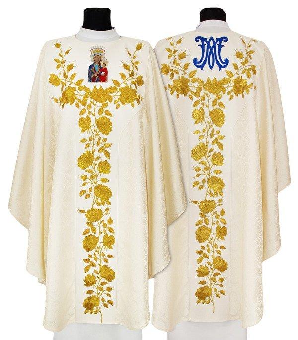 Cream Semi Gothic Chasuble Black Madonna of Częstochowa model 665