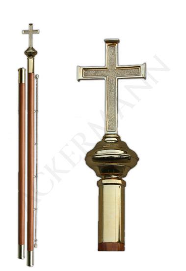 Flag pole with brass church ornament Cross II