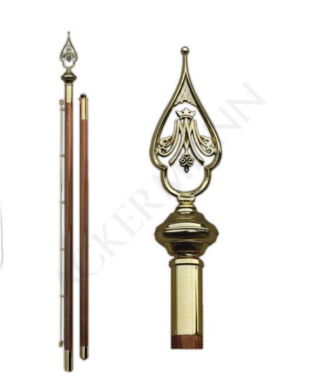 Flag pole with brass church ornament Marian v2