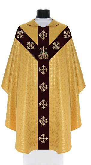 Gold Semi Gothic Chasuble Peacock Theme model 803