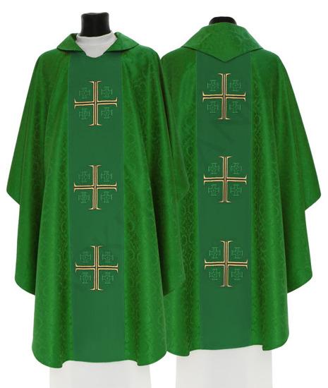 Green Gothic Chasuble Jerusalem crosses model 726