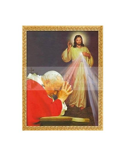 """Picture on the fabric """"Divine Mercy Jesus & St. Pope John Paul II"""""""