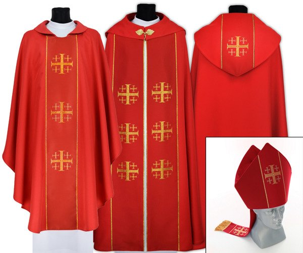 Red Gothic Cope with mitre & chasuble Jerusalem Crosses model 009